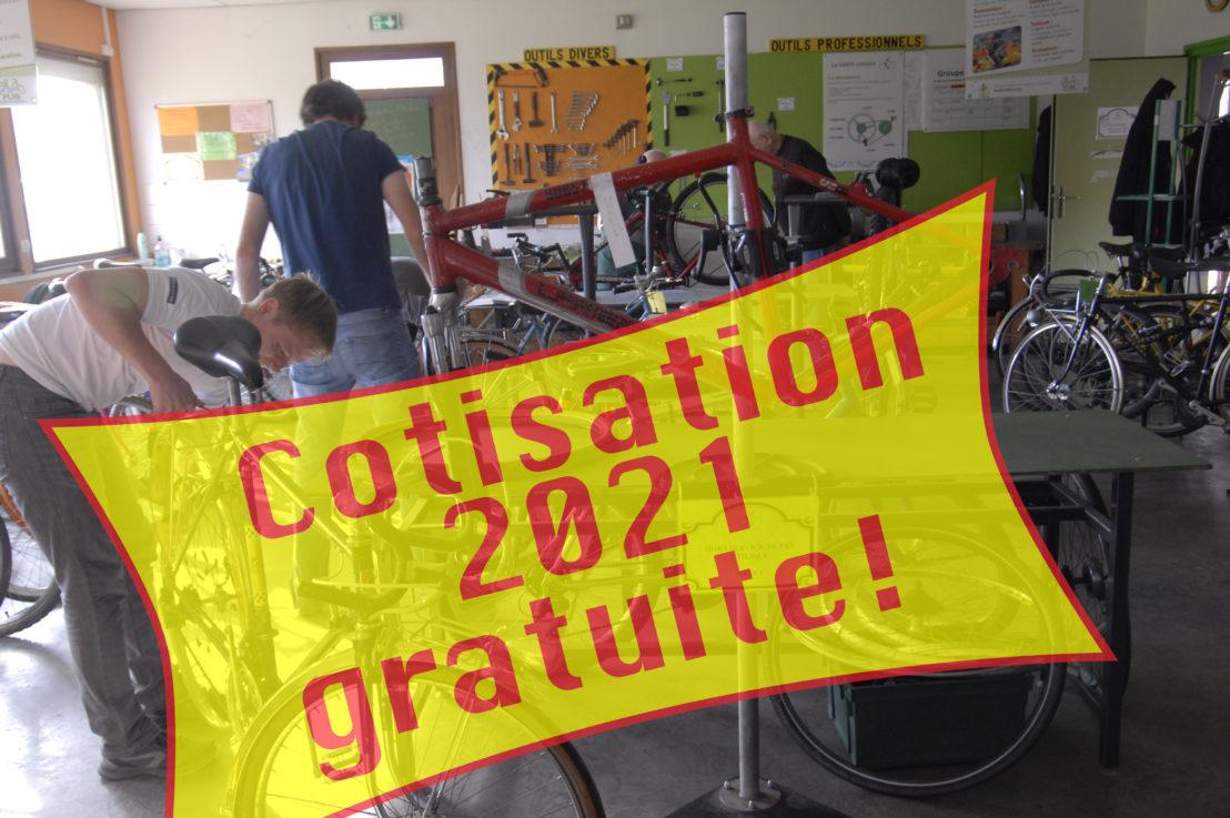 En 2021, cotisation à zéro euro à l'atelier du vélo